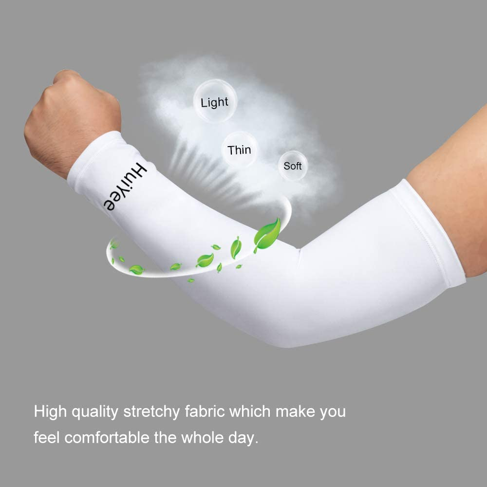 HuiYee compression Arm Sleeves Unisex and comfortable for Outdoor Sports Arm Cooling Sleeves with anti-slip design 3 Sizes, Pack of 1 Pair