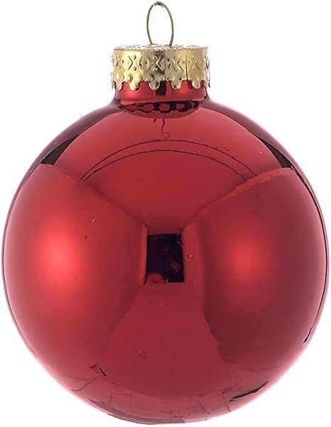 Kurt Adler 65mm Shiny Red Glass Ball Ornaments 6 Piece Box Set Home Kitchen