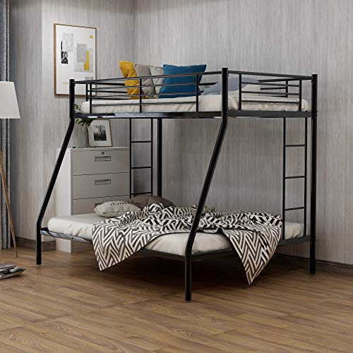 Metal Bunk Beds Twin Over Full Size with 2 Ladder and Safety Guard Rails for Kids Teens Adults, Space-Saving Design, No…