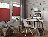 GARDINIA Pleated Blind for Clamping, Opaque Folding Blind, Mounting Kit Included, EASYFIX Pleated Blind with Two Operating Rails, Bordeaux Red, 90 x 130 cm