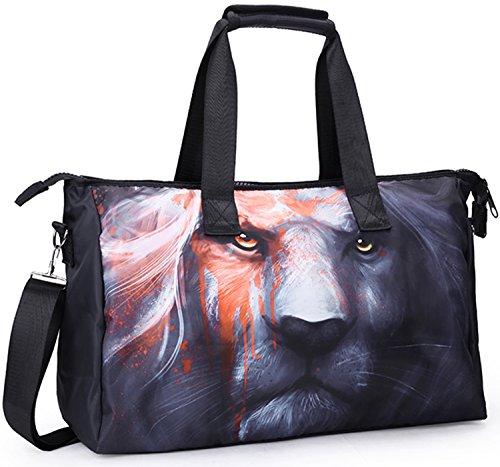 Unisex Big Handbag Tote Shoulder Crossbag Travel 3D Fashion Duffel Bag 19 InchesLion