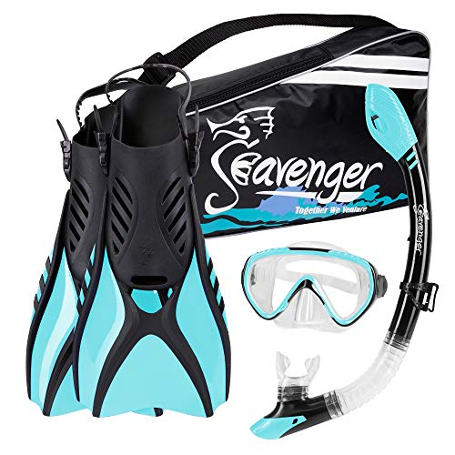 Seavenger Voyager Snorkeling Set | Travel Fins, Snorkel, Mask and Gear Bag for Men and Women (Sky Blue, Medium)