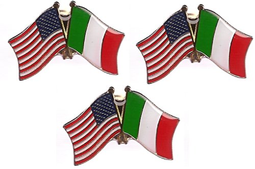 Pack of 3 Italy & US Crossed Double Flag Lapel Pins, Italian & American Friendship Pin - Pin Flag Italy Lapel