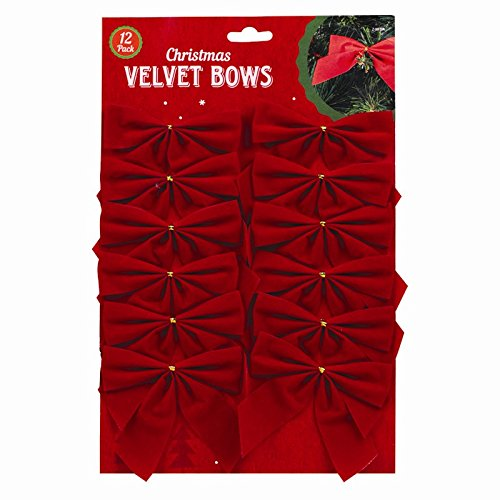 12 X Red Vevlvet Ribbon Bows - Xmas Tree Decoration - Christmas Gifts / Presents - Arts Crafts by EYTech by EYTech