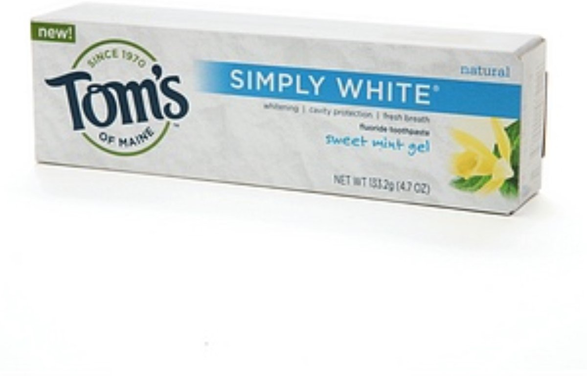 Tom's of Maine Natural Simply White Fluoride Toothpaste Sweet Mint 4.70 oz (Pack of 2)