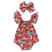 Newborn Baby Girls Watermelons Printed Ruffle Bodysuit with Headband (0-6M, Watermelon)