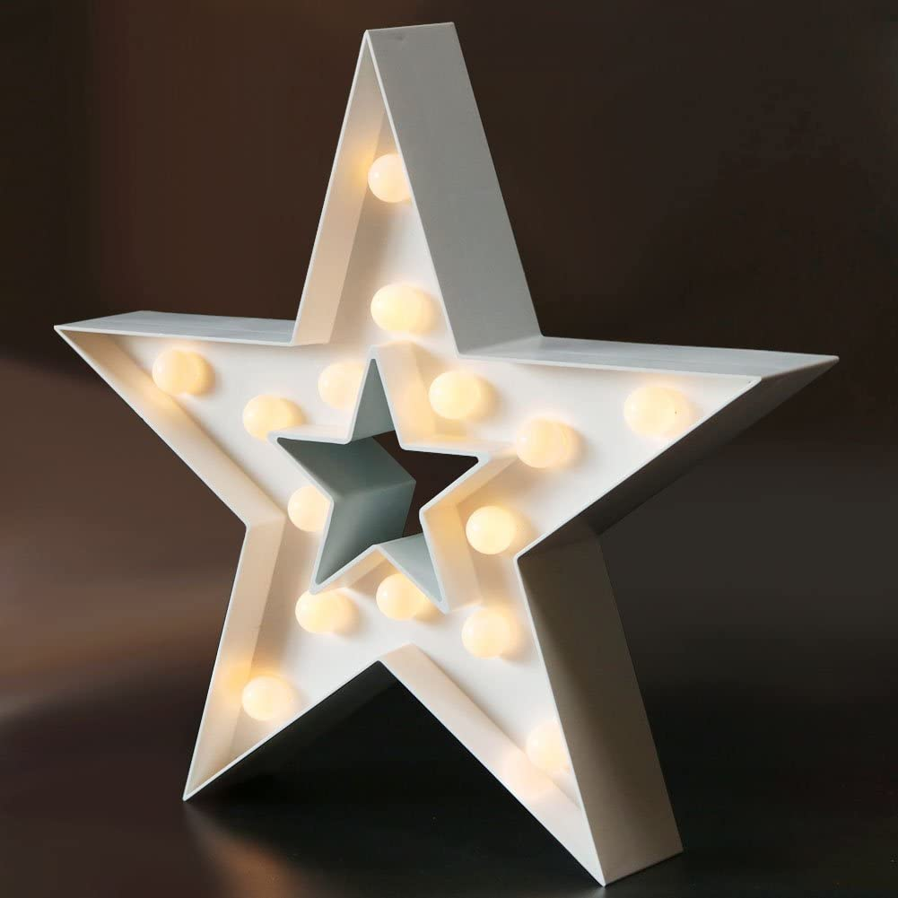 """Bright Zeal 13"""" LED Star Marquee Sign Light - White Table Top Indoor Marquee Star with Lights - Outdoor Star Decorations for Wall Star Marquee Sign Lights - Light Up Star Wall Decor LED Star Signs"""