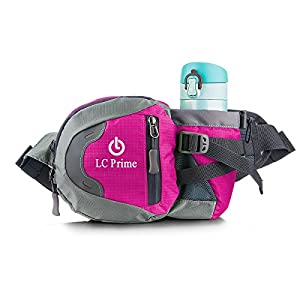 Waist Pack Running Bag Running Belt Runners Belt Bum Bag Fanny Pack Drink Pouch Chest Bag Sling Sports Water Resistant with Water Bottle (Not Included) Holder Drink Pouch for Hiking Cycling Camping Jogging Travel nylon fabric pink - by LC Prime®
