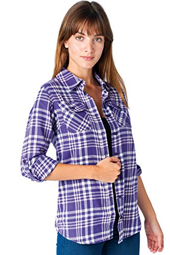 ICONICC Women's Long Sleeve Plaid Flannel Shirt (CT0023_66_L) -