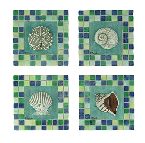 Resin Decorative Wall Plaques Green And Blue Mosaic Seashell Tile Coastal Wall Decor Set Of 4 5.5 X 5.5 X 0.5 Inches Multicolor (Multicolor Mosaic Tile)