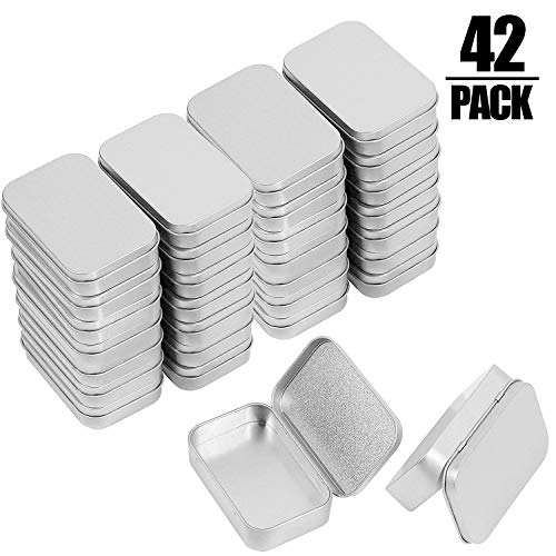 KINJOEK 42 PCS Metal Rectangular Empty Hinged Tins, Portable Sealed Containers Storage Boxes with Lids for Small Items, Silver