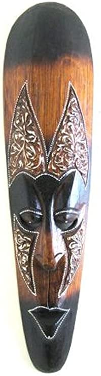 Amazon Com Oma African Wall Mask Decor Fire Mask Tribal Tiki Lucky In Love Wooden Hand Crafted Home Decor Gift Large Size Kitchen Dining