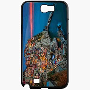 Unique Design Fashion Protective Back Cover For Samsung Galaxy Note 2 Case Manarola Cinque Terre Italy Black