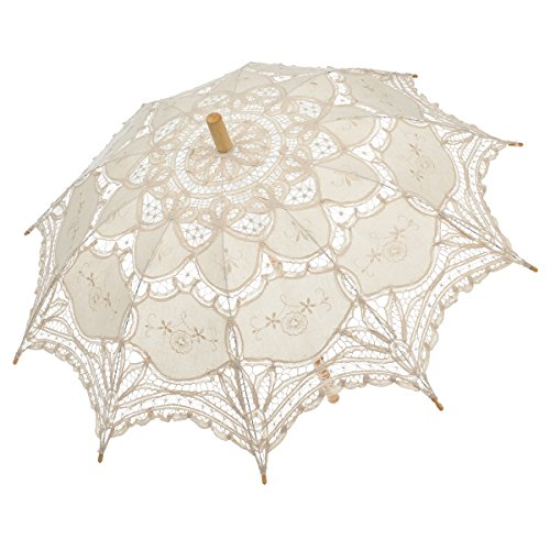 Remedios(16 colors) Lace Parasol Umbrella for Wedding Bridal Decoration Ivory by Remedios
