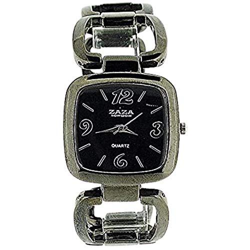 Zaza London Analogue Ladies Black Dial Gun Metal Square Link Fashion Watch LC02
