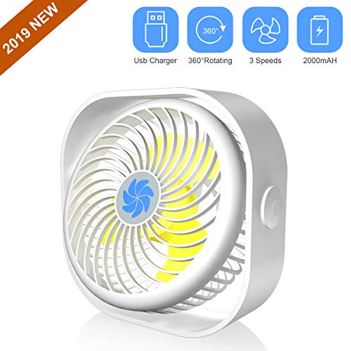Mini Desk Fan,2000mAH Rechargeable Battery Operated Small Table Fan Portable USB Desk Fan with 3 Speed 360°Rotating Free Adjustment Personal Fan for Home, Office Desktop,Outdoor Camping (Ivory White)