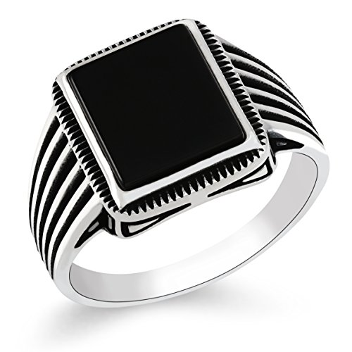 Chimoda Turkish Silver Jewelry Black Onyx Stone 925 Sterling Men's Ring Striped Design (10)