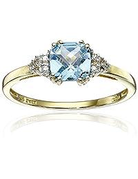 10k Yellow Gold, December Birthstone, Blue Topaz and Diamond Ring, Size 7