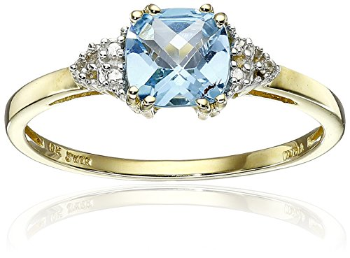 10K Yellow Gold Blue Topaz Cushion  with Diamond December BirthStone Ring, Size 7