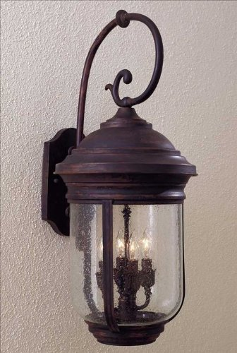 Minka Great Outdoors 8812-57 Amherst - Four Light Outdoor Wall Mount, Roman Bronze Finish with Clear Seeded Glass