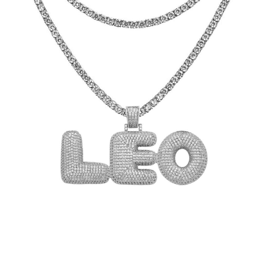 83a6f2299 AIJIAO Bubble Letter Chain Customize Name Necklace with Diamonds for Women  Men Hip Hop Iced Out Tennis Chain Initial Pendant A - Z   Amazon.com