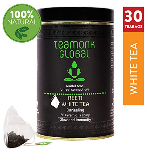 Darjeeling Organic White Tea, 30 Teabags   Nourishes Glow from Within, Helps Build Immunity   100% Natural Whole Leaf Tea   No Additives