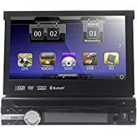 Car Video AUDIO Single 1 DIN 7 inch Motorized Touchscreen DVD Player Receiver, GPS Navigation, Detachable Panel, Bluetooth, Wireless Remote