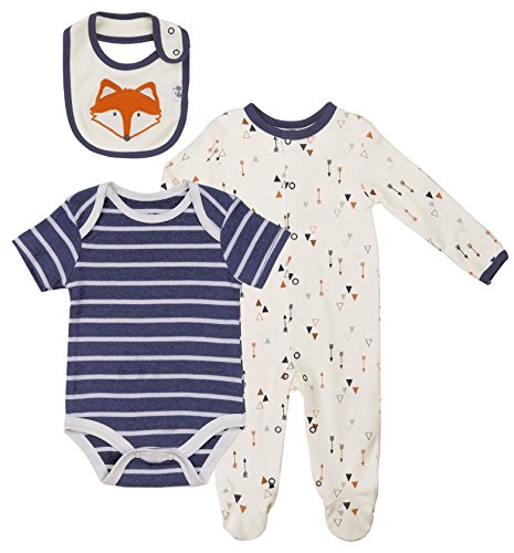 amas Set, Footed Long-Sleeve Cream Arrow Print Overall, Navy-White Striped Onesie and Fox Waterproof Bib. Size 3-6 Month. Perfect Layette Outfit Gift For Birthday and Baby Shower. (3 Piece Print Onesie)