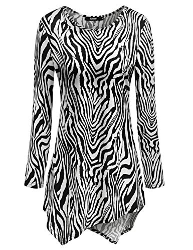 (Zebra Print Tops for Petite,Women's Casual Tunic Top and Blouses Womens Asymmetrical Hem Tunic Shirt Blouse Hankerchief Hemline Long Sleeve Round Neck Tee T Shirts M Medium Zebra)