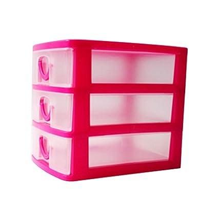 Jancery - Organizador de cajón de plástico para Escuela, Oficina y Juguetes Infantiles (3 cajones), plástico, Rojo, 13 * 9 * 11.5CM