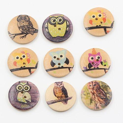 Yunchuang 50PCs Wooden Buttons Owl Cartoon Pattern Fashion 2-hole Sewing Scrapbook DIY