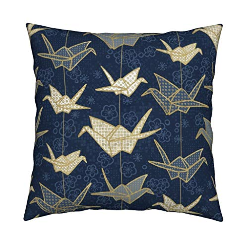Roostery Origami Velvet Throw Pillow Origami Japanese Art Navy Origami Japanese Good Luck Hiroshima Crane Peace Bird by Marketa Stengl Cover and Insert Included