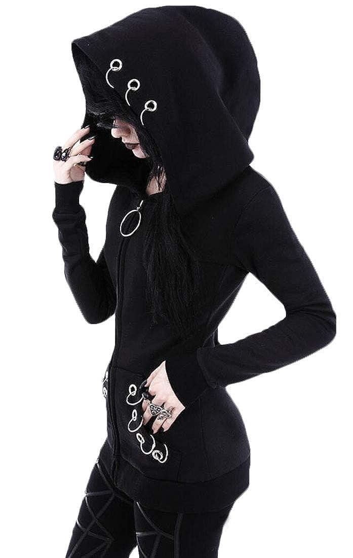 WSPLYSPJY Womens Gothic Punk Zipper Front Long Sleeve Sweatshirts Coats