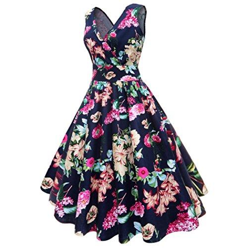 VEMOW Elegante Damen Abendkleider Plus Size Blumendruck Vintage ...