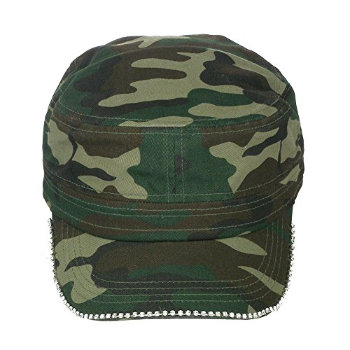 Ladies Camo Cap - Women's Rhinestone Outline Crystal Brim Velcro Back Cadet Military Cap Hat - Camo