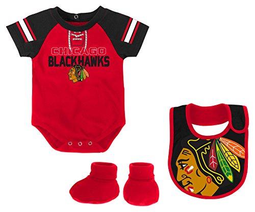 Chicago Cotton Blackhawks - Outerstuff NHL Chicago Blackhawks Newborn & Infant Little D-Man Onesie, Bib & Bootie Set, 18 Months, Red