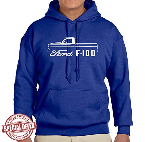 1967-72 Ford F100 Pickup Truck Classic Outline Design Hoodie Sweatshirt large royal
