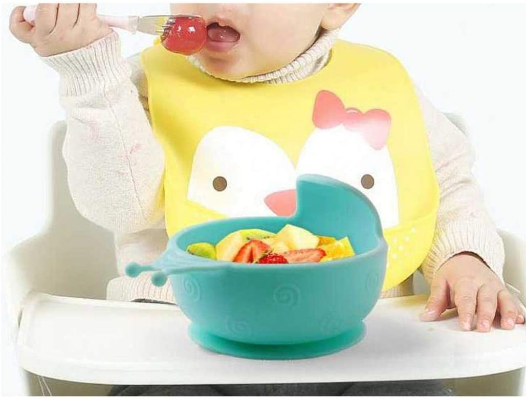 AMOYER Baby Silicone Suction Bowl Nonslip Spill Proof Feeding Training Bowl Toddler Feeding Tools