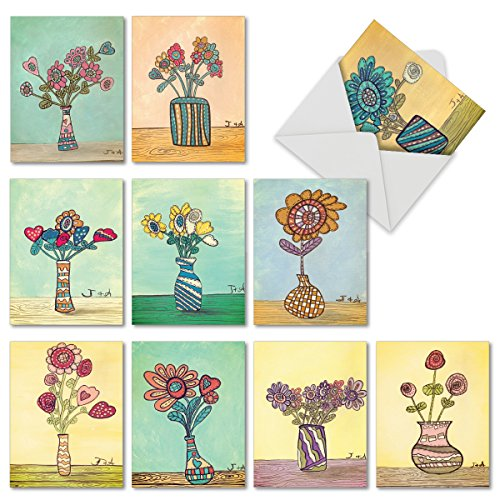 M6626OCB Kids' Pix: 10 Assorted Blank All-Occasion Note Cards Featuring Sweet Watercolored Images of a Child's Depiction of Flowers in Vases w/White Envelopes.