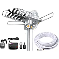 Vilso TV Antenna Outdoor Amplified - Motorized 360 Degree Rotation - Digital HDTV Antenna - 150 Miles Range - Wireless Remote (Non Mount Pole)
