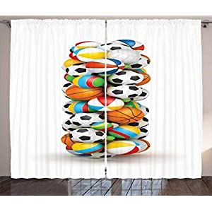 Ambesonne Letter I Curtains, Game Balls Alphabet Theme Basketball Volleyball and Soccer Ball Colorful Letter, Living Room Bedroom Window Drapes 2 Panel Set, Multicolor 21