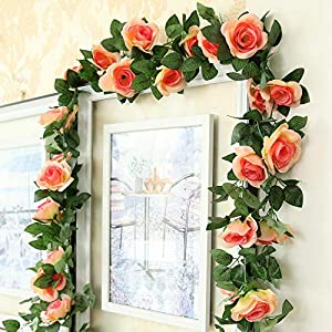 DerBlue 3 Pcs 22.5 Feet Artificial Rose Vine Flowers Plants Artificial Flower Hanging Rose Ivy Home Hotel Office Wedding Party Garden Craft Art Décor 6
