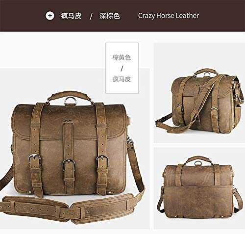 Color : Brass Shengjuanfeng Mens Shoulder Bags Leather Retro Crazy Horse Leather Tote Bag Domineering Bags for Travel
