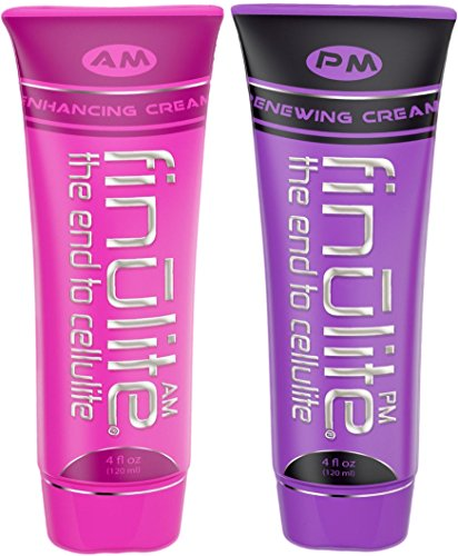 Finulite Cellulite Cream - AM/PM Treatment DUO with 3X Caffeine. Skin Tightening, Firming Dimple Remover | Results in 4-8 Weeks - 8 oz (Two 4 oz Tubes)