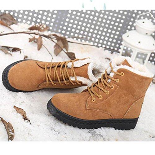 Tefamore Zapatos Planos de Mujer Botines Botas de Nuevo Clásico Otoño Invierno Marrón