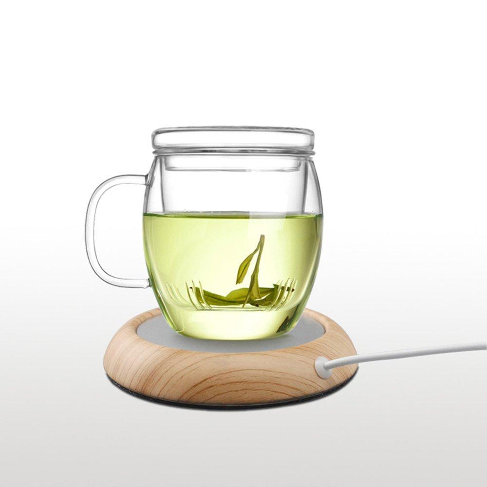 USB Cup Warmer for Desktop Coffee Mug Heater Office Home Portable Milk Cup Beverage Warmer Plate (Light Wood Grain)