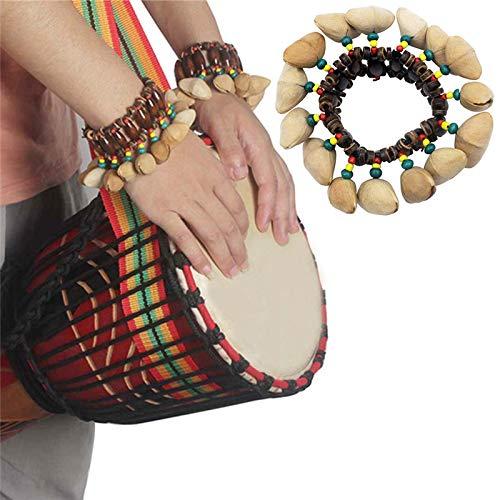 Sala-Fnt - Handmade Nuts Shell Bracelet Handbell for Djembe African Drum Conga Percussion Accessories Dora Handbell Shell Accompaniment