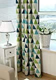 TIYANA Shading Cloth Curtains for Living Room Modern Simple Design Extra Long Curtains with Grommets For Living Room, 1 Piece, Green Triangle Print Pattern Shading Curtains, 39×102 inch For Sale