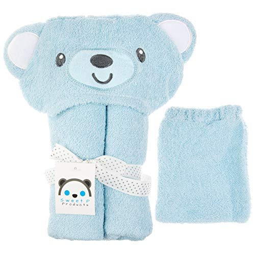Hooded Baby Bear Bath Towel with Elastic Band Washcloth for Boy or Girl: 100% Cotton Towels and Washcloths Set for Boys or Girls