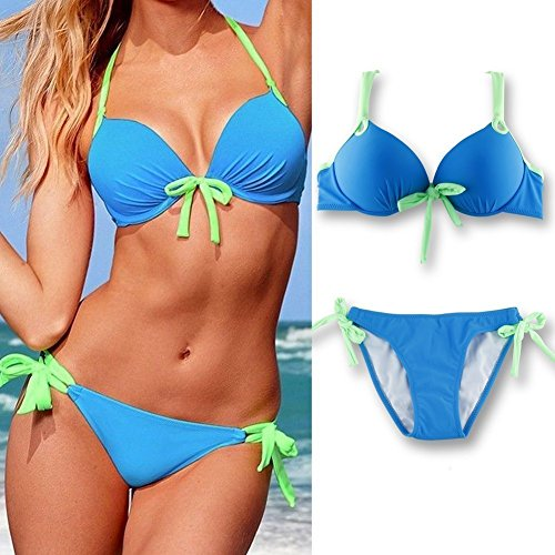 TOPCHANCES Women Sexy Push up Padded Swimsuit Bikini Set (Large Size)